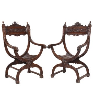 1900s Vintage Italian Carved Walnut Renaissance Style Armchairs- A Pair For Sale