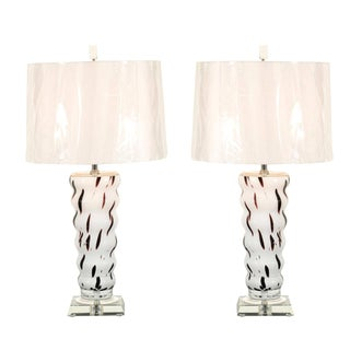 Vintage Blown Glass Lamps in Cream and Chocolate Raspberry For Sale