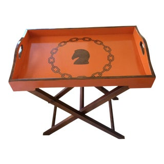 Hollywood Regency Hermès Inspired Orange Equestrian Bar Tray Table For Sale