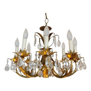 Italian Gild Tole and Crystal Chandelier For Sale