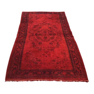 Red Overdyed Turkish Rug For Sale