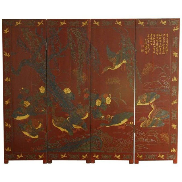 Chinese Coromandel Style Two-Sided Lacquer Screen For Sale - Image 13 of 13