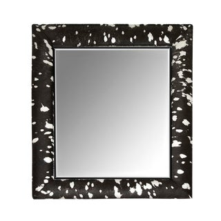 Contemporary Black & Silver Metallic Hide Mirror For Sale