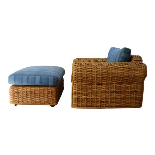 Vintage Rattan Chair and Ottoman Set by Ralph Lauren