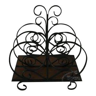 Custom Ornate Scrolled Wrought Iron Spanish Style Magazine Stand For Sale