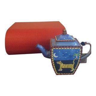 Charlotte DI Vita Hand-Painted Enamel Teapot For Sale
