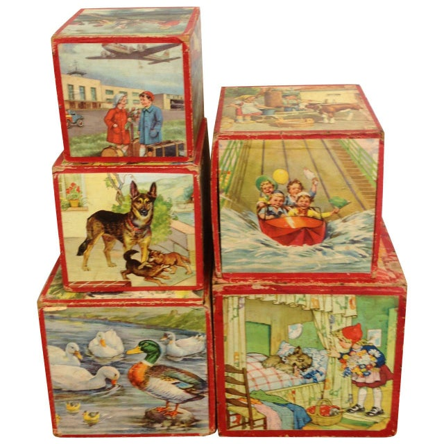 Vintage Preschool Nesting Blocks - Set of 5 - Image 1 of 6