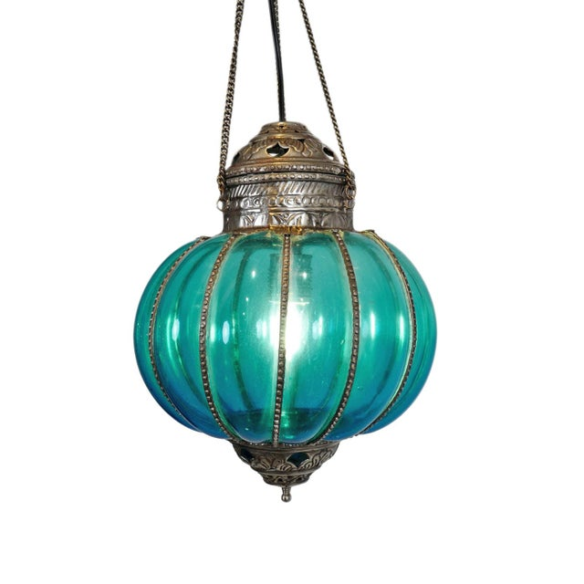 Mid 20th Century Vintage Turquoise Pumpkin Lantern For Sale - Image 5 of 5