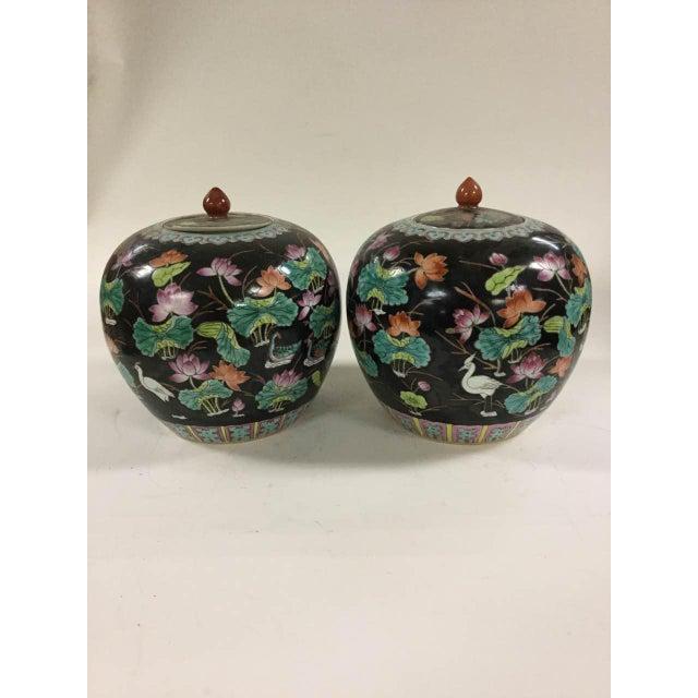 Black Vintage Melon Jars - A Pair - Image 2 of 8