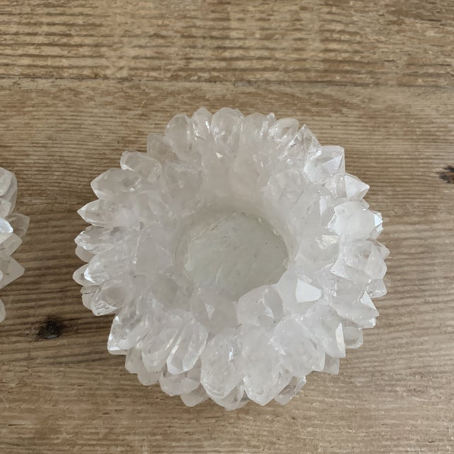 Contemporary Quartz Crystal Votive Candleholders- a Pair For Sale - Image 3 of 7