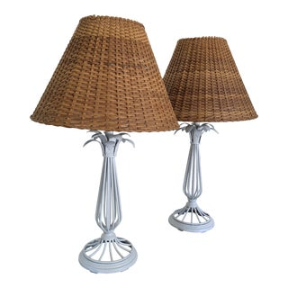 1980s White Metal Palm Lamps With Wicker Shades - a Pair For Sale