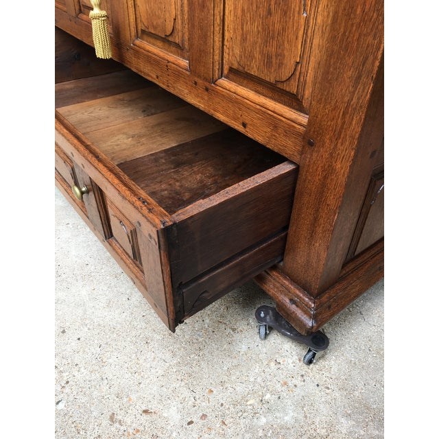 1900s Antique French Country Carved Oak Mule Chest Bench Coffer Trunk For Sale - Image 9 of 13