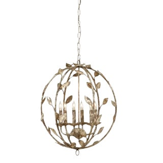 Botanical Leaf Globe Chandelier / Pendant by Chelsea House For Sale
