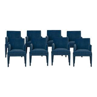 Upholstered Dining Armchair in Royal Velvet & Black Piping - Set of 8