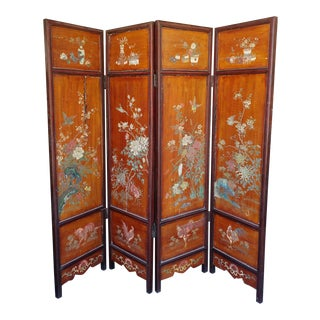 Antique Chinese Coromandel Folding Lacquer Screen For Sale