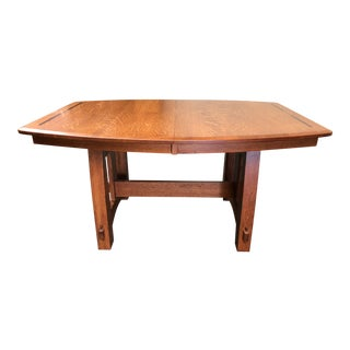 New Mission Style West Point Oak Colebrook Trestle Table For Sale