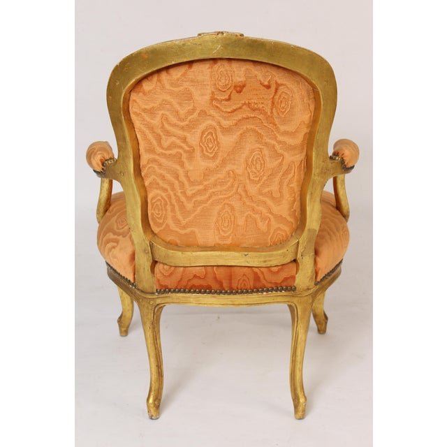 Antique Louis XV Style Gilt Wood Armchairs - a Pair For Sale - Image 4 of 11