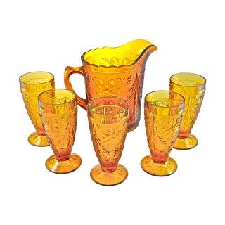 Last Call! Vintage Golden Topaz Pitcher & Glasses - Set of 6 For Sale