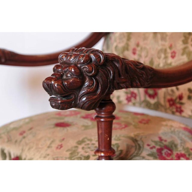 Red Pair of Antique Louis XIV Style Walnut Wood Armchairs from France For Sale - Image 8 of 8