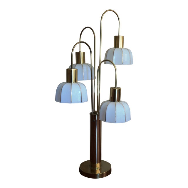Hollywood Regency Brass & Glass Arc Table Lamp - Image 1 of 8