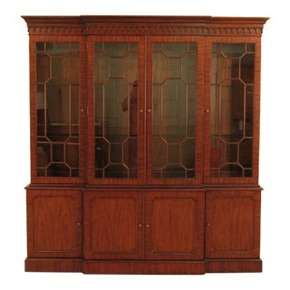 Maitland Smith Large Mahogany Breakfront Bookcase Cabinet For Sale