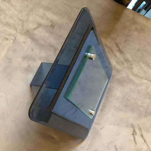 1970s Italian Vintage Cristal Arte Blue Glass Photo Frame For Sale - Image 6 of 13
