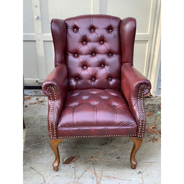 Faux leather; perfect for a man cave or office. Excellent club chairs.
