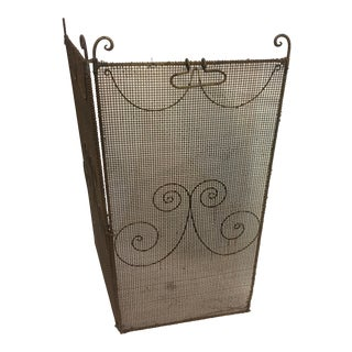 1950s Small Vintage Mesh Metal Fireplace Screen For Sale