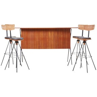 House Bar and Four Bar Stools by Prof. Herta-Maria Witzemann for Erwin Behr For Sale