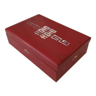 Chinoiserie Red Lacquer Box For Sale