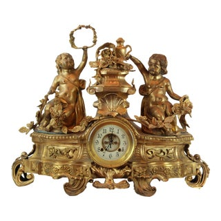 Pasargad DC Vintage French Bronze Clock With 2 Cherubs For Sale