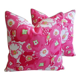 """Shabby Chic Pink Begonia Blossom Feather/Down Pillows 24"""" Square - Pair For Sale"""