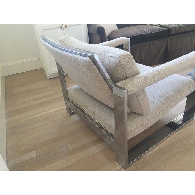 Vintage Belgian Linen & Chrome Chair - Image 4 of 5
