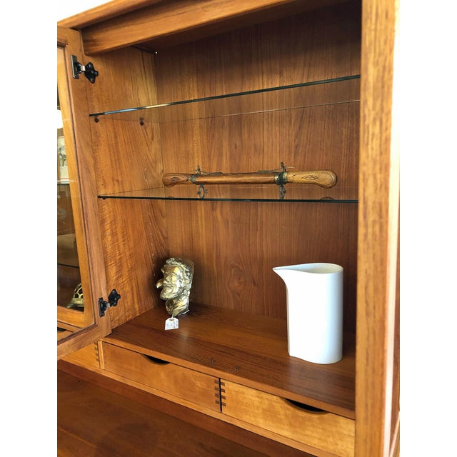 1970s Vintage Teak Wood Two-Piece Display Hutch For Sale - Image 9 of 10