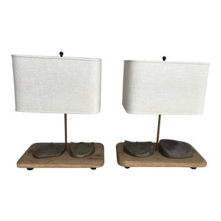 Vintage Artist Designed Lamps With Bronze Mounts - a Pair For Sale