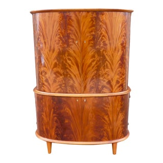 1940s Swedish Moderne Flame Mahogany Storage Cabinet For Sale