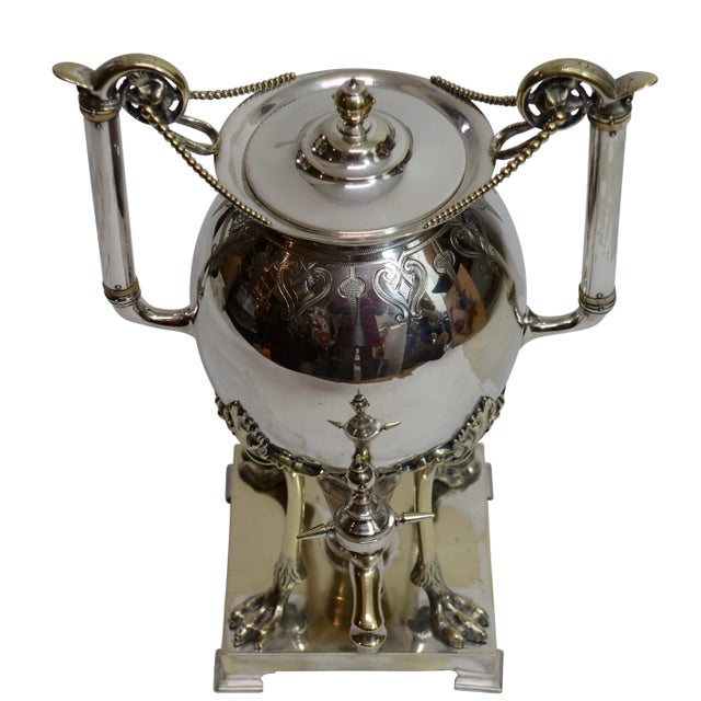 An Aesthetic Movement period, silver plate on brass hot water urn samovar. A very fine example of this style. American,...