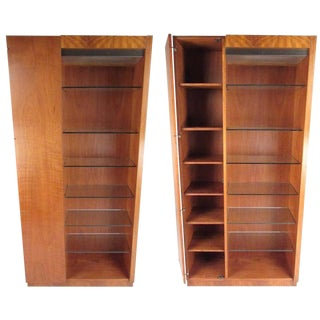 Pair of Scandinavian Modern Teak Display Cabinets For Sale
