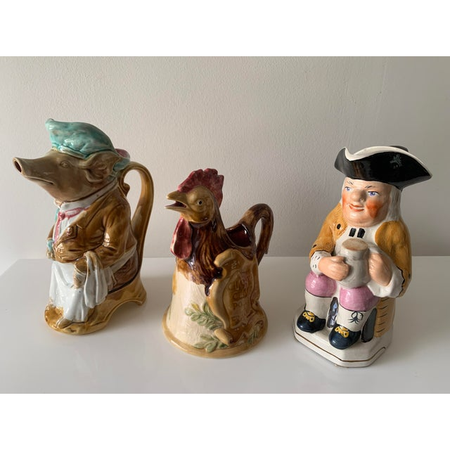Wood Late 19th Century Majolica Barbotine Pitchers - Set of 3 For Sale - Image 7 of 13