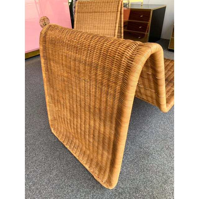 Pair of rattan chaise longue Lounge chair or armchairs model P3 by the designer Tito Agnoli for the editor Pierantonio...