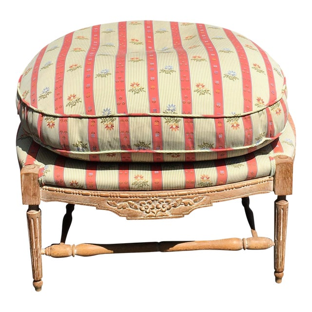 Large Regency Style Pink Striped Upholstered Ottoman For Sale