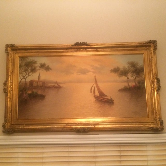 Gold 1980s Mario Rossi Serene Sailboat Oil on Canvas Painting For Sale - Image 8 of 8