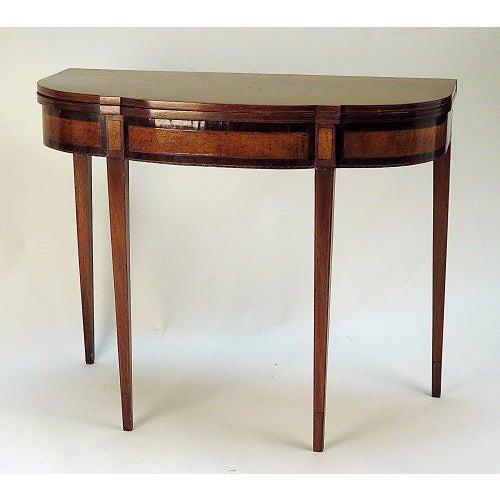 Sheraton mahogany satinwood inlaid game table circa 1790