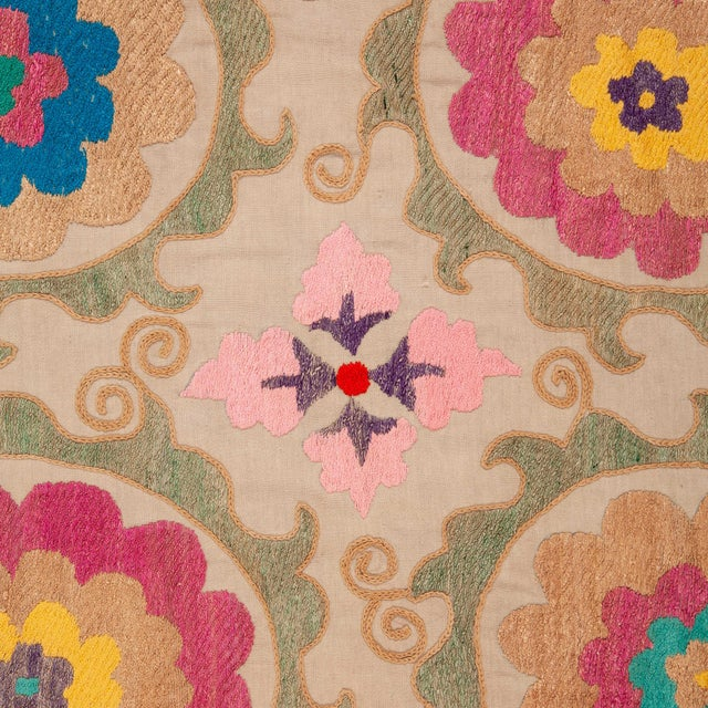 Vintage Colorful Hand Embroired Suzani Textile Bukhara Uzbekistan For Sale In Los Angeles - Image 6 of 10