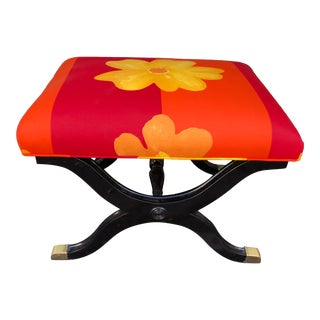 Vintage French Art Deco X Bench W Marimekko Seat For Sale