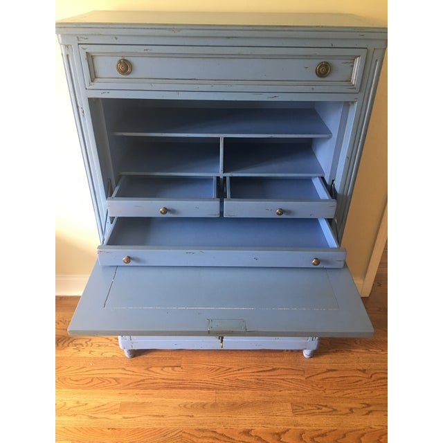 Vintage French Country Painted Wooden Secretary Desk For Sale - Image 4 of 13