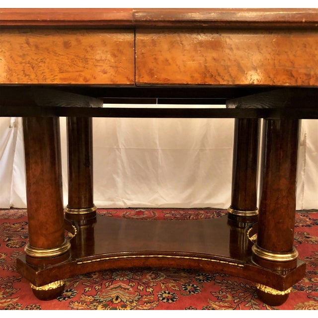 Antique French Empire Style Circassian Walnut Dining Suite: Table, Sideboard and 12 Chairs. For Sale In New Orleans - Image 6 of 13