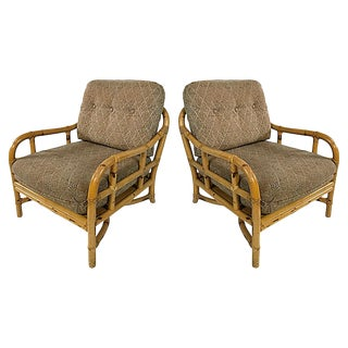Ficks Reed Rattan Lounge Chairs, Pair For Sale