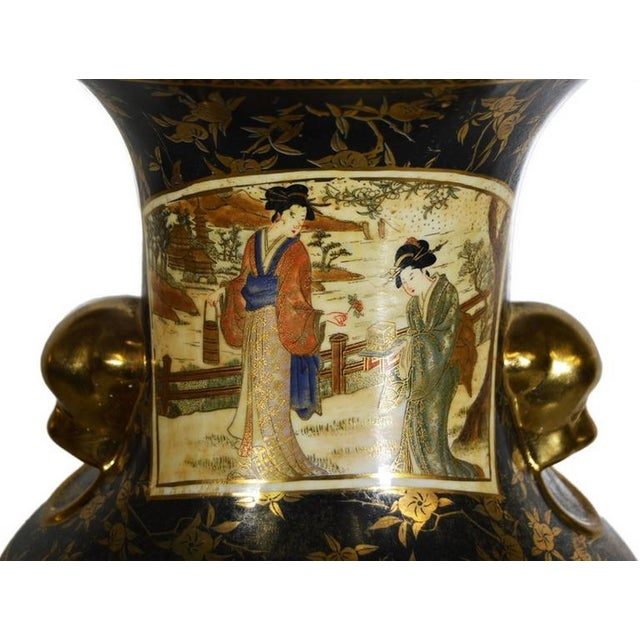 Brown Vintage Hand-Painted Porcelain Vase with Gilded Accents from 20th Century, China For Sale - Image 8 of 10