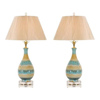 Chic Pair of Large-Scale Drip Glaze Ceramic Lamps in Caramel and Sultanabad Blue For Sale